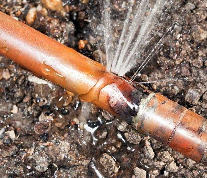 Example of a burst pipe